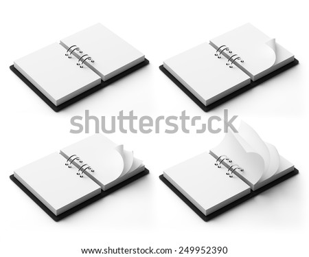 Blank Copy space open diary. High resolution empty agenda turning pages with copyspace. - stock photo