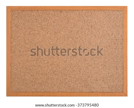 Blank cork board with a wooden frame isolated on a white background - stock photo