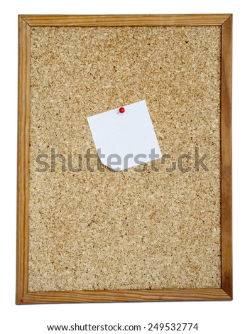 Blank Cork board with notice - stock photo