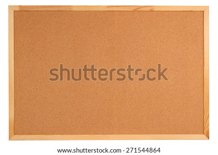 Blank cork board with wooden frame isolated on white background - stock photo