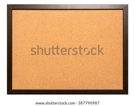 Blank corkboard on isolated on white.