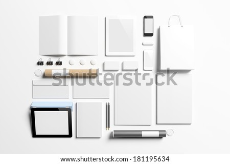 Blank corporate identity elements isolated on white.  - stock photo