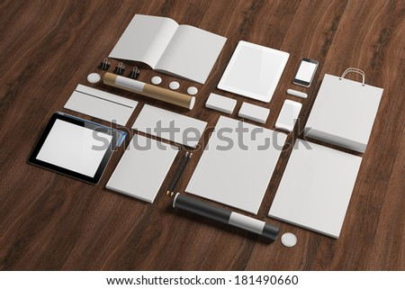 Blank corporate identity elements isolated on white.  - stock photo