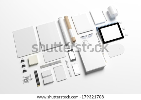 Blank corporate identity set / Stationery / Branding. Consist of letterhead, folder, book, note, phone, tablet pc, business cards, cup, pen, pencil, cd, buttons, envelope, tubus. - stock photo