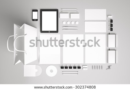 Blank corporate identity set / Stationery / Branding. Consist of letterhead, folder, book, note, phone, tablet pc, business cards, pen, pencil, cd, buttons, envelope, package - stock photo