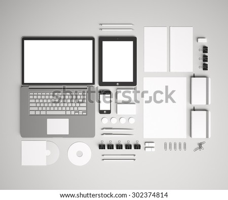 Blank corporate identity set / Stationery / Branding. Consist of letterhead, folder, book, note, phone, tablet pc, business cards, pen, pencil, cd, buttons, envelope  - stock photo