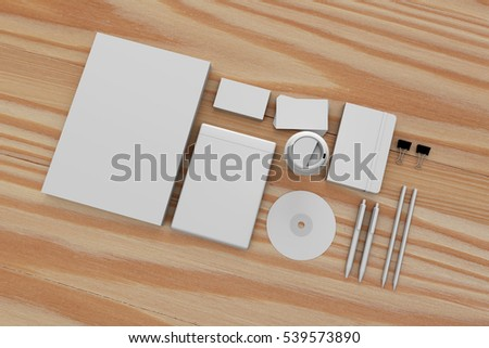 Blank corporate identity stationery design set, branding mockup template. Sheets of paper, business cards, notebook, coffee cup, dvd case and etc. For graphic designers presentations. 3D rendering.