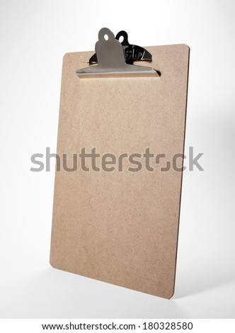 Blank cortical clip board on white background
