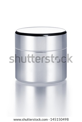Blank cosmetic pot. Clipping path on pot. - stock photo