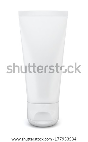 Blank cosmetic tube. 3d illustration on white background
