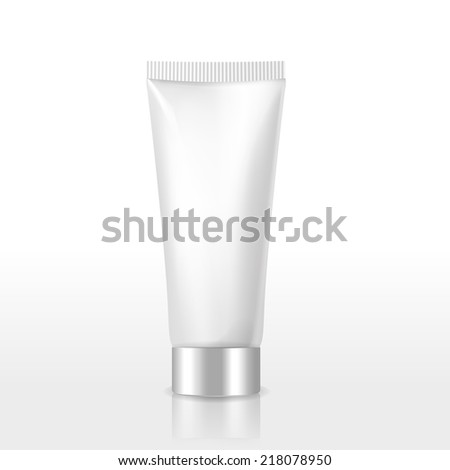 blank cosmetics package over white background