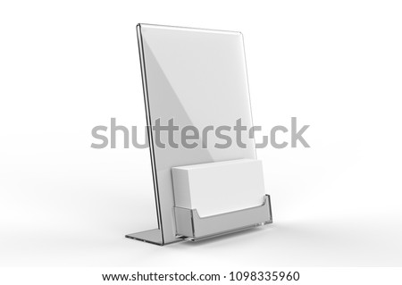 Blank counter top acrylic business card stock illustration blank counter top acrylic business card display with sign holder 3d render illustration reheart Images