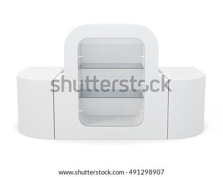 Blank counter with showcase isolated. 3d rendering.