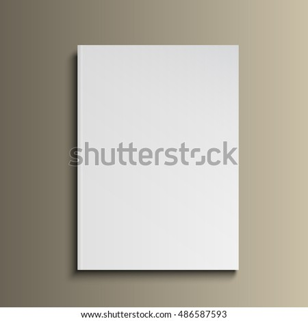 Blank Cover Of Magazine, Book, Booklet, Brochure, Leaflet. Illustration Isolated On Gold Background. Mock Up Template Ready For Your Design. Raster copy of vector file.