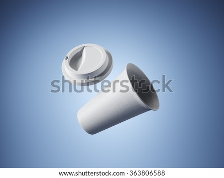 Blank craft coffee cup on the blue background. 3d rendering - stock photo