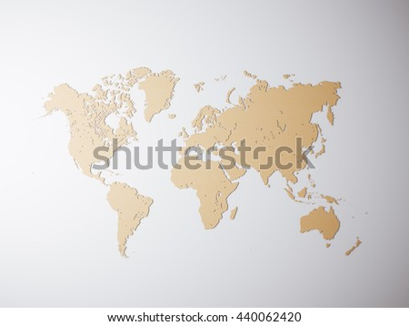 Blank Craft Political World Map. 3D rendering. Empty concrete wall background. High textured row materials. Mockup ready for business information. Horizontal - stock photo