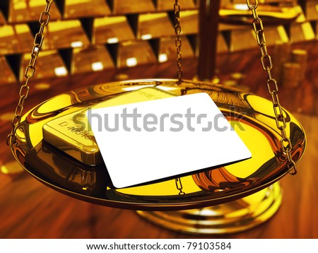 Blank credit card ,gold ingots and brass scale , 3d illustration - stock photo