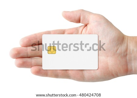 Blank credit card in hand isolated on white background