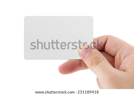 Blank credit card or business card isolated on white background