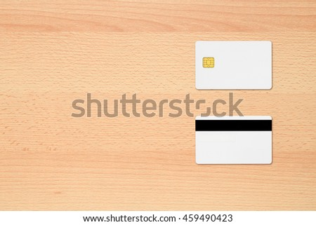 Blank credit cards on office desk
