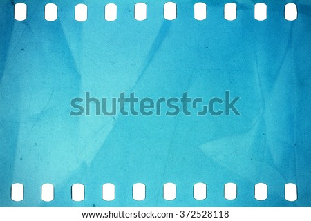 Blank crumpled noisy blue  film strip texture background - stock photo