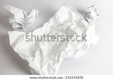 Blank crumpled paper sheet template isolated on white background - stock photo