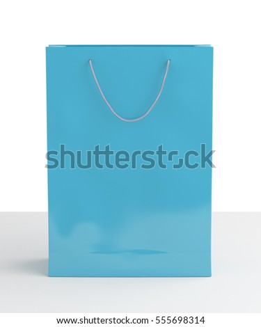 Blank cyan paper shopping bag on white background. Isolated include clipping path 3d render.