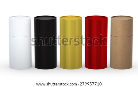 Blank cylindrical box packaging  with variety material set clipping path included.  - stock photo