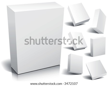 Blank 3d boxes ready to use in your designs. - stock photo