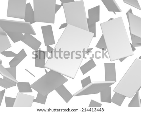 Blank 3d cards falling