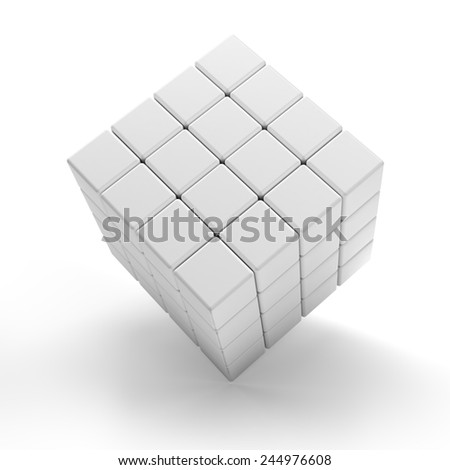 Blank 3d cubes, white background, 3d render - stock photo