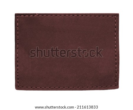 blank dark brown jeans leather label  isolated on  white background