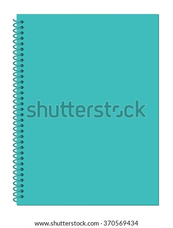 Blank Dark Turquoise Green Notebook Paper with Spiral Wire Binding isolated on White Background Illustration