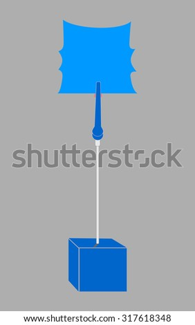 blank deep blue paper clamp by deep blue cube alligator wire  - stock photo