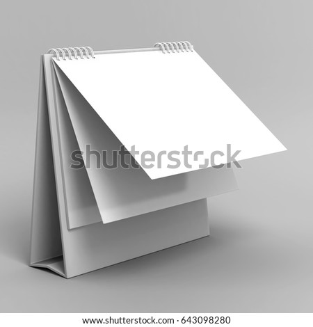 Blank desk top calendar isolated on white background for mock up and print designs. 3d render illustration.