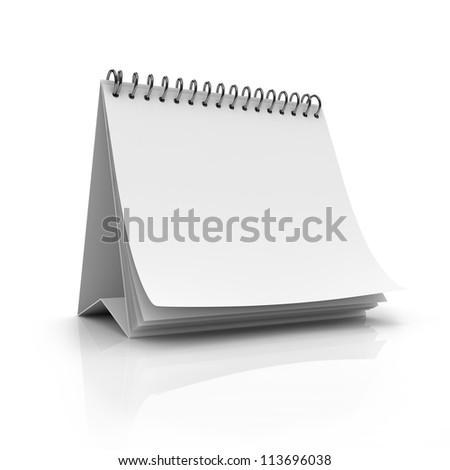 Blank desktop calendar isolated on white background - stock photo