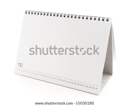 blank desktop calendar with copy space for text, design and graphic isolated on white background