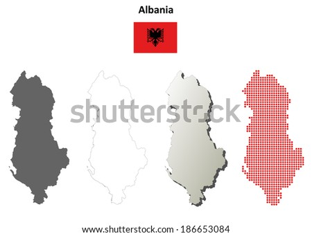 Blank detailed contour maps of Albania - jpeg version - stock photo