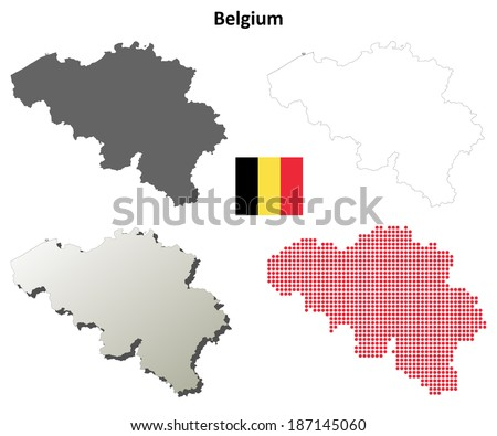 Blank Detailed Contour Maps Belgium Jpeg Stock Illustration