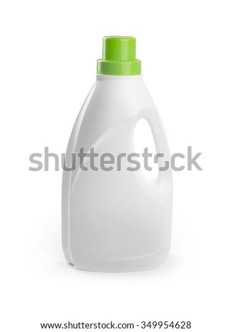 blank detergent bottle isolated on white background - stock photo