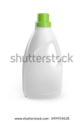 blank detergent bottle isolated on white background - stock photo
