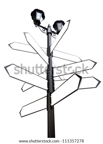 Blank Direction antique road signs - arrows on white background with clipping path - stock photo