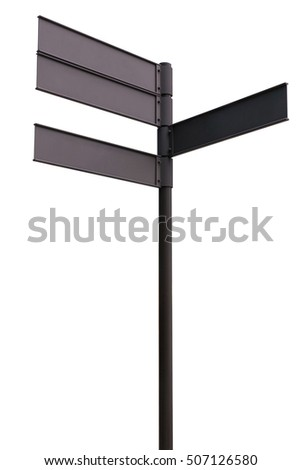Blank direction black signpost isolated on white background. Object with clipping path.