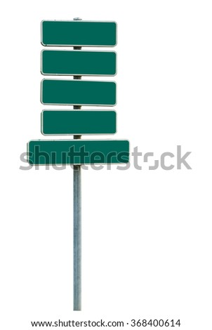 Blank direction sign (add your text) isolated on white background with clipping path