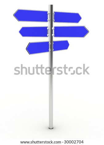 Blank direction signs on a metal column on the white background - just add your text. High resolution 3D image