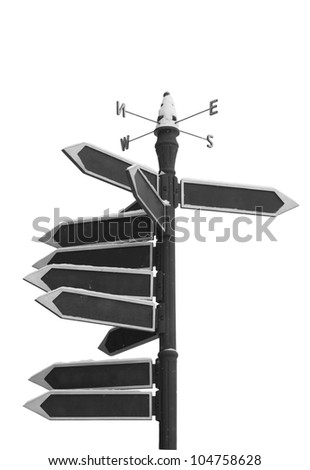 Blank Directional Arrow Sign isolated on white background - stock photo
