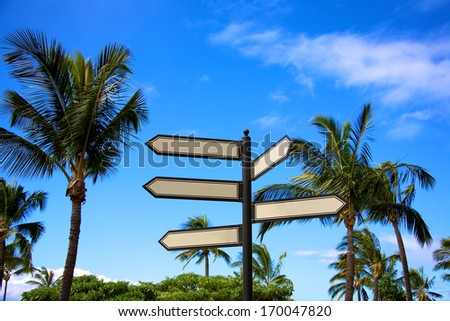 Blank directional arrows with space for customized wording set against a tropical background - stock photo