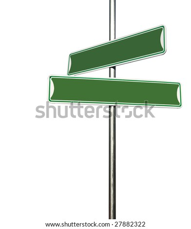 Blank Directional Metal Sign Post Isolated on White Background
