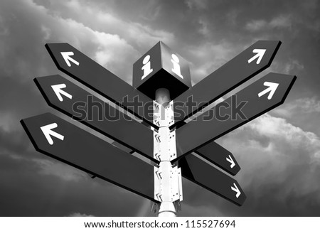 Blank directional road signs over cloudy sky - stock photo