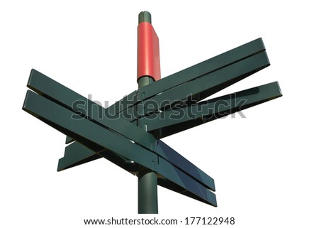 Blank Directional Sign Post on white background - stock photo
